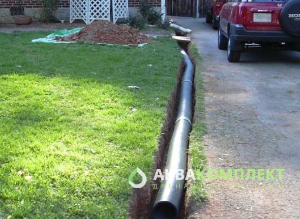 Водоотводная труба, монтаж