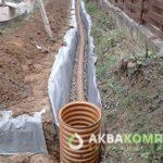 Монтаж труб и контрольного колодца в системе поверхностного дренажа
