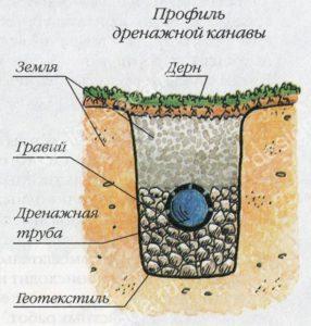 Профиль дренажной канавы