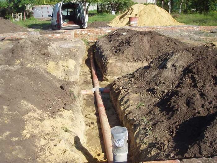 Расположение канализационных труб на участке