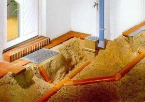 Дренажная система дома в процессе монтажа